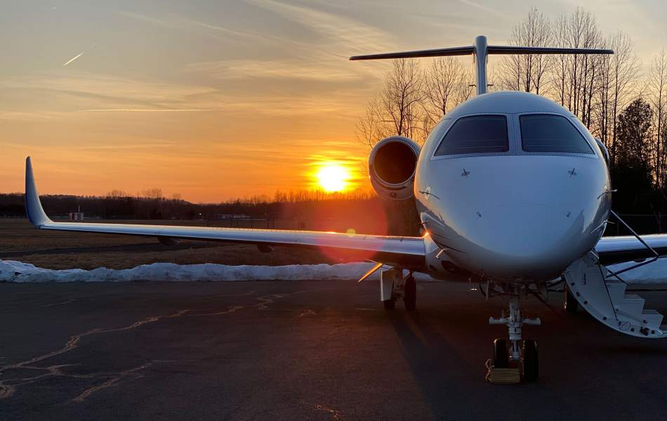 AirSprint Embraer Praetor 500 at sunset